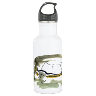 Turtle, traditional Sumi-e in color Water Bottle