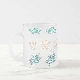 Turtle treasures frosted glass coffee mug
