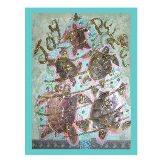 Turtle Tree Glitter Collage Post Card