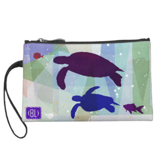Turtle trip to leather makeup bag