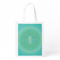 Turtle Turquoise Gold Animal Mandala Grocery Bag