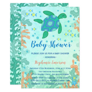 Turtle baby shower invitations zazzle turtle under the sea baby shower invitations filmwisefo