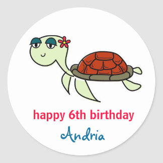 Turtle, Under the Sea Cupcake Toppers Stickers