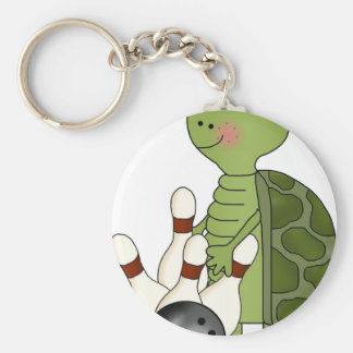 Turtle with bowling pins and ball keychain