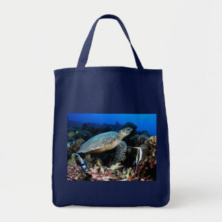 Turtle with fish grocery tote canvas bag