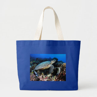 Turtle with fish jumbo tote bags
