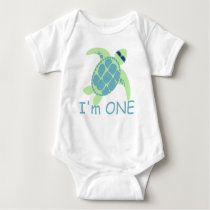 Turtle with Sunglasses One Year Baby Bodysuit