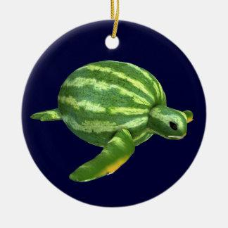 Turtle with Watermelon Body Ceramic Ornament