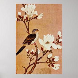 Turtledove blanco en la rama floreciente, Chiang T Impresiones