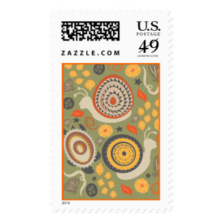 Turtles and snails art on green Postage