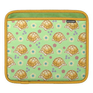 Turtles and Spring Flowers Pattern iPad Sleeve