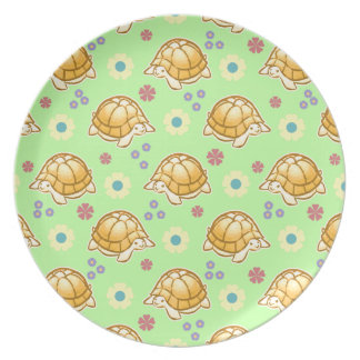 Turtles and Spring Flowers Pattern Plates