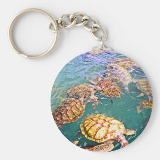 Turtles at Play Keychain