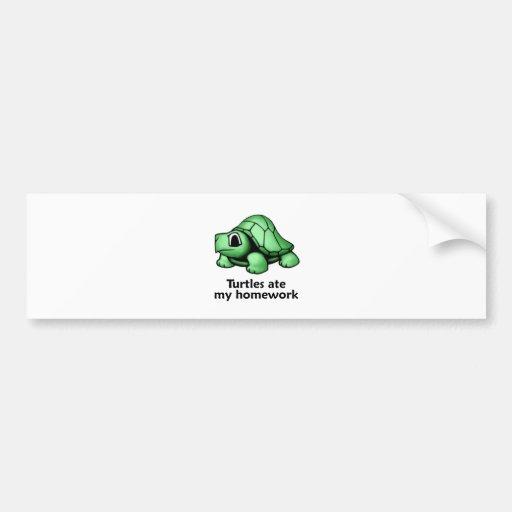 Turtles ate my Homework Bumper Stickers