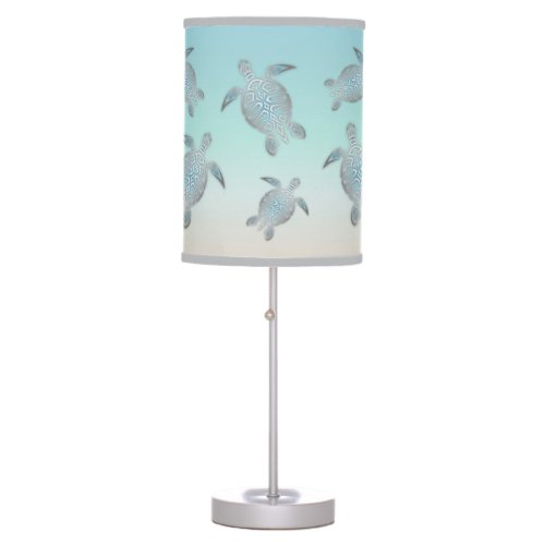 Turtles Beach Style Silver Turquoise Maritime Table Lamp