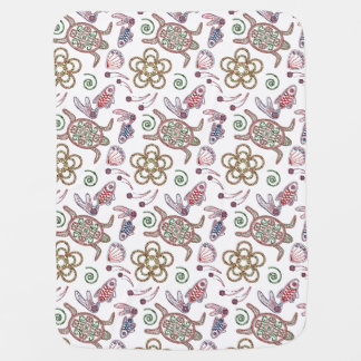 Turtles & Fish Doodlely 1 - Baby Blanket