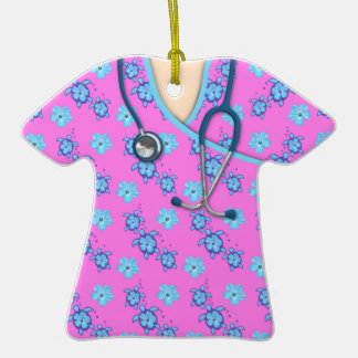 Turtles Flowers Pink Medical Scrubs Double-Sided T-Shirt Ceramic Christmas Ornament