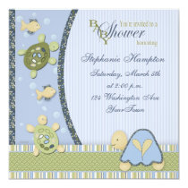 """Turtles in Blue and Green Baby Shower Invitation 5.25"""" Square Invitation Card"""