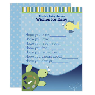 Turtles Ocean Reef Wishes for Baby Shower Card