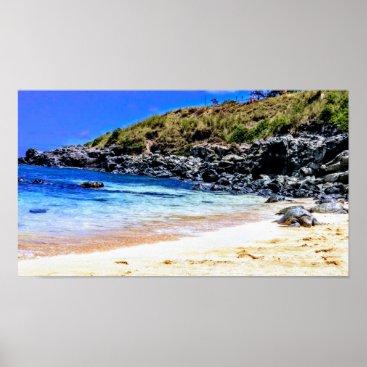 Hawaiian Themed Turtles on the Beach in Maui Poster