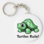 Turtles Rule! Basic Round Button Keychain
