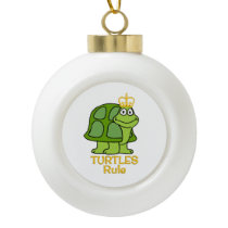 Turtles Rule Golden Crown Ceramic Ball Christmas Ornament