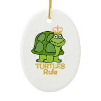 Turtles Rule Golden Crown Ceramic Ornament