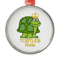 Turtles Rule Golden Crown Metal Ornament