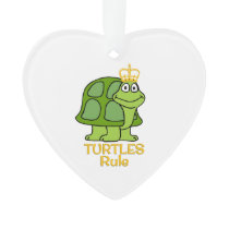 Turtles Rule Golden Crown Ornament