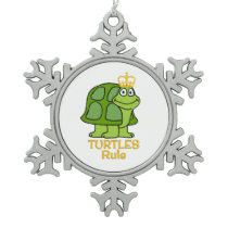 Turtles Rule Golden Crown Snowflake Pewter Christmas Ornament