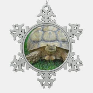 Turtles Snowflake Pewter Christmas Ornament