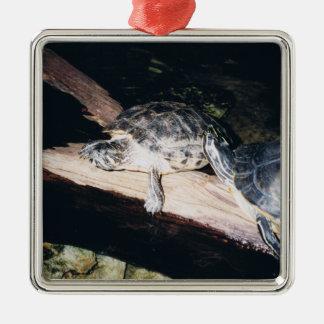 Turtles Square Metal Christmas Ornament