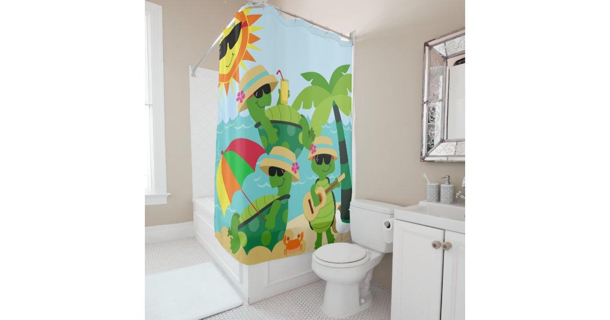 Turtles Summer Beach Party Cute Kids Shower Curtain Zazzle