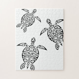 Turtles Tribal Tatoo Animal Jigsaw Puzzle