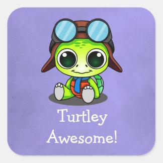 Turtley Awesome! Cute Chibi Cartoon Turtle Square Sticker