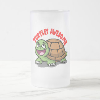 Turtley Awesome Frosted Glass Beer Mug