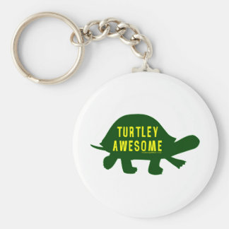 Turtley Totally Awesome Basic Round Button Keychain