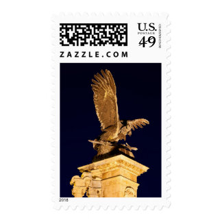 Turul Bird Statue at Night in Budapest Postage Stamp