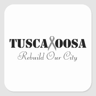 Tuscaloosa with Houndstooth Support Ribbon Square Sticker
