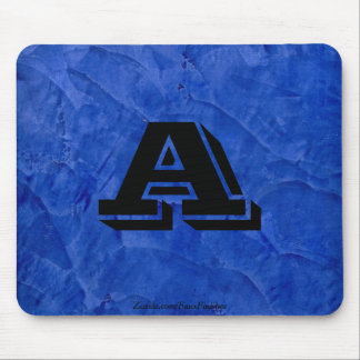 Tuscan Blue Faux Finish Monogram Mouse Pad