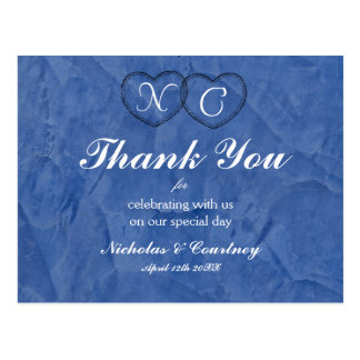 Tuscan Blue Hearts Thank You Card Postcard