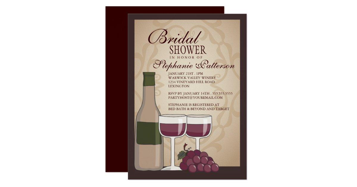 Tuscan Themed Wedding Invitations: Tuscan Bridal Shower Wine Themed Invitation