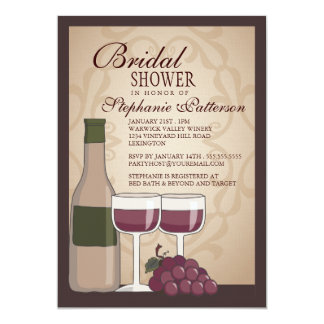 Tuscan Bridal Shower Wine Themed Invitation