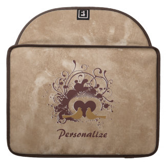 Tuscan Brown Love Birds With Name Sleeve For MacBook Pro