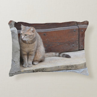 Tuscan Cat in the Doorway Decorative Pillow