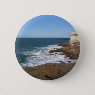 Tuscan coast in winter with Boccale castle Button