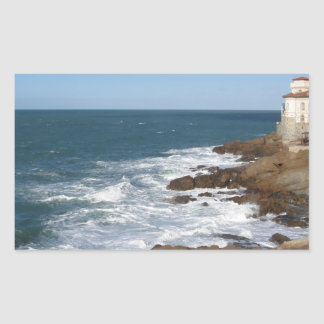 Tuscan coast in winter with Boccale castle Rectangular Sticker