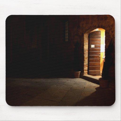 Tuscan doorway at night mousepads