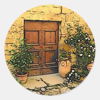 Tuscan Doorway Classic Round Sticker