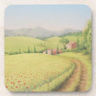 Tuscan Farmhouse, Italy Hard Plastic Coasters